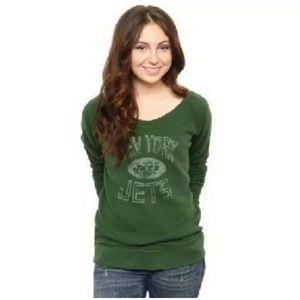 NFL New York Jets Vintage Off Shoulder Sweatshirt